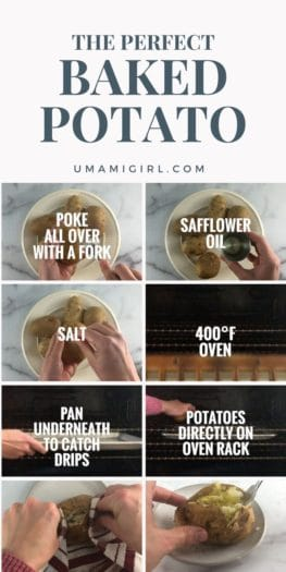 collage of how to get a potato ready for the oven, and what it looks like when ready