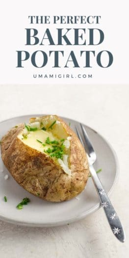 potato with butter and chives on a plate