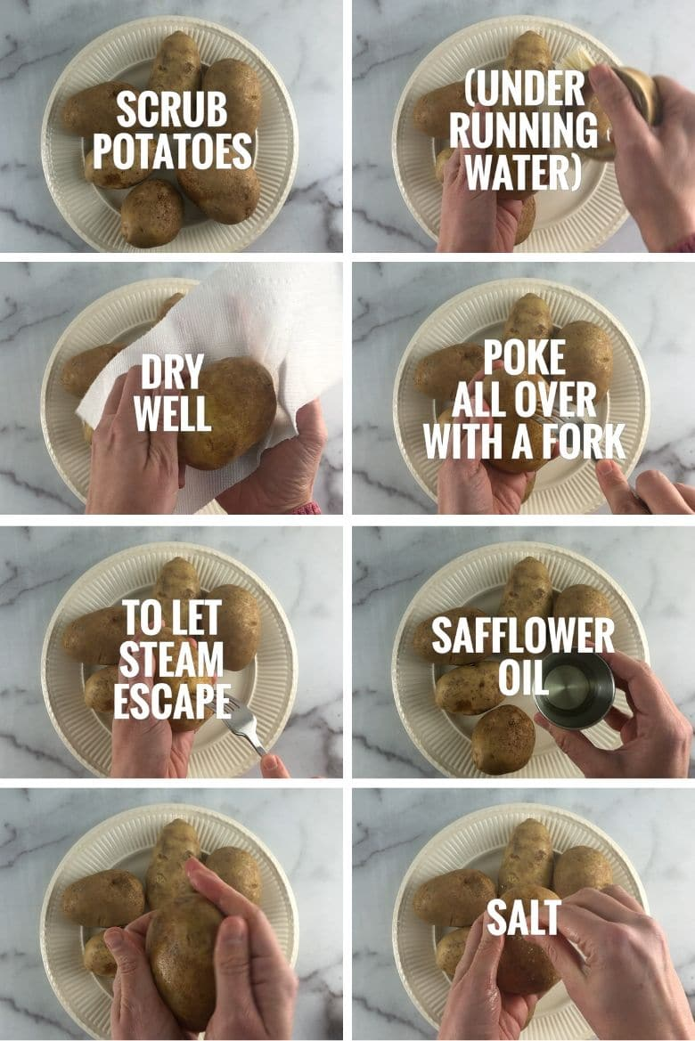collage showing how to get a potato ready to bake: scrubbing, drying, poking with a fork, rubbing with safflower oil and sprinkling with salt