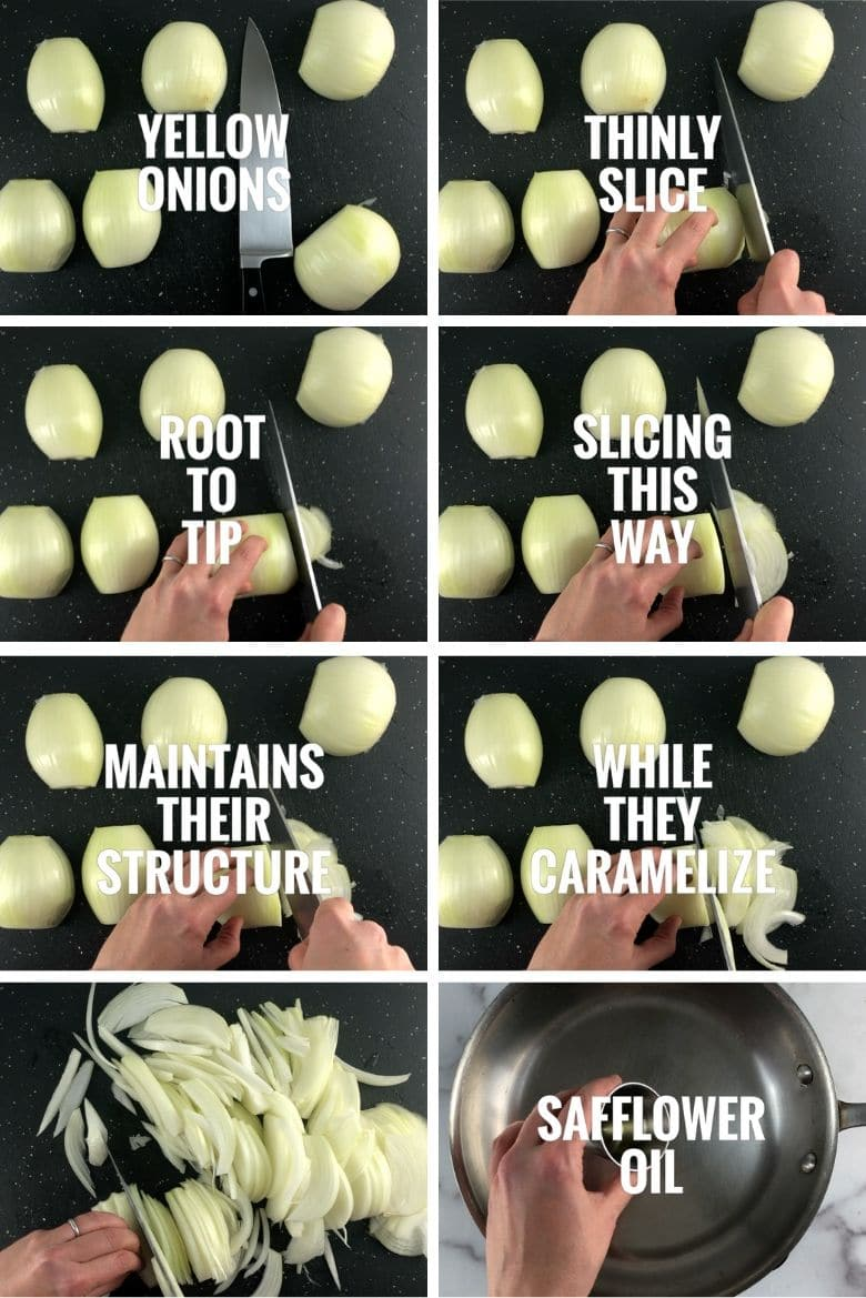 collage of exactly how to slice onions to caramelize