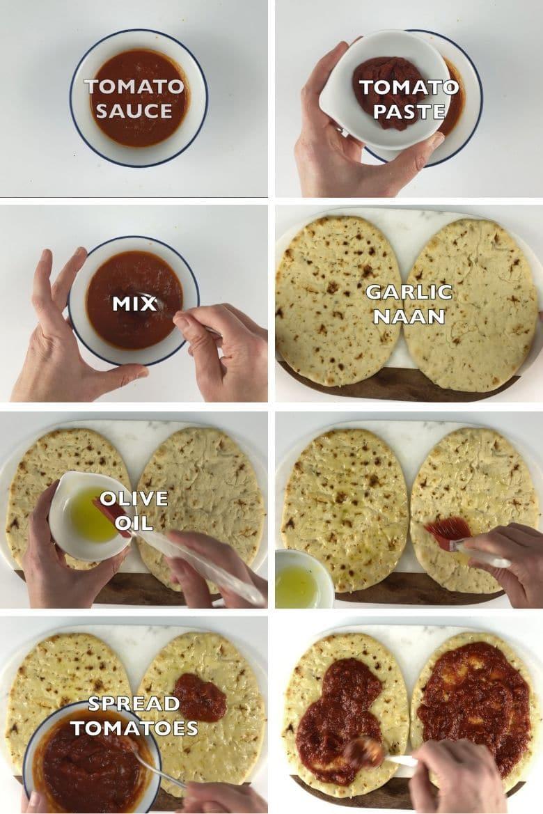 Naan Pizza Margherita Process 1