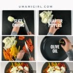 a composite of eight photos showing the peppers and onions making process