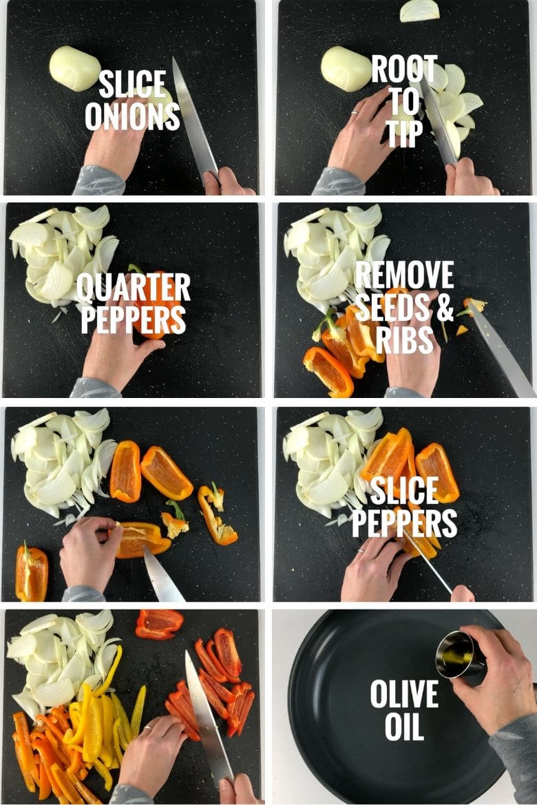 a composite of eight photos showing the first half of the peppers and onions making process