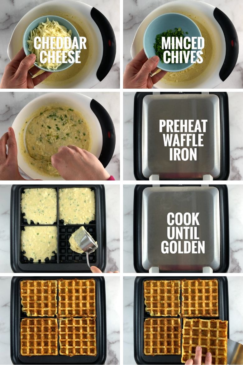 collage where cheddar and chives are added to mixing bowl, waffle iron is preheated, and batter is spooned into the waffle iron. Then cooked golden-brown waffles are shown being removed from the iron.