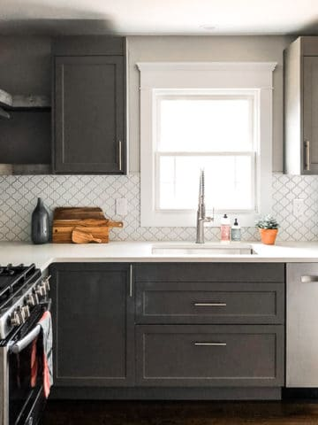 A grey, white and wood kitchen renovation with IKEA and Semihandmade cabinets