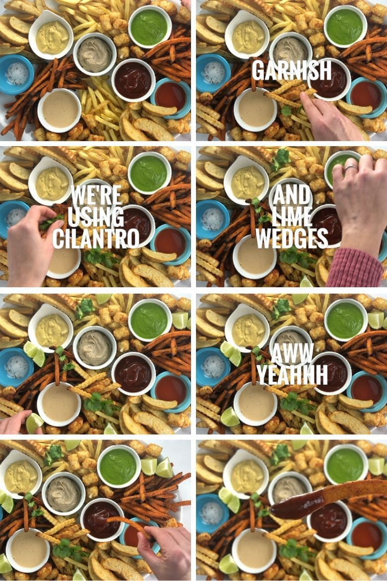 Step by step collage of how to build a platter with baked french fries and sauces