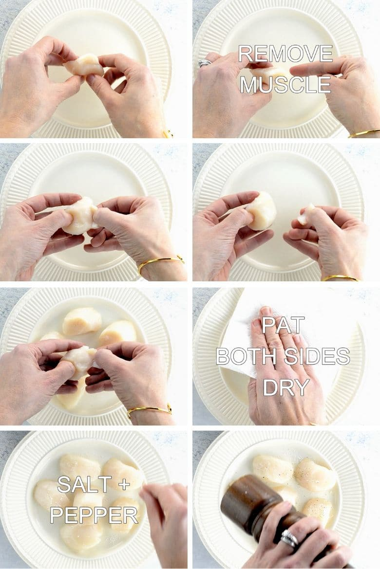 Collage of removing the muscle from dry sea scallops, patting dry with a paper towel, and sprinkling with salt and pepper