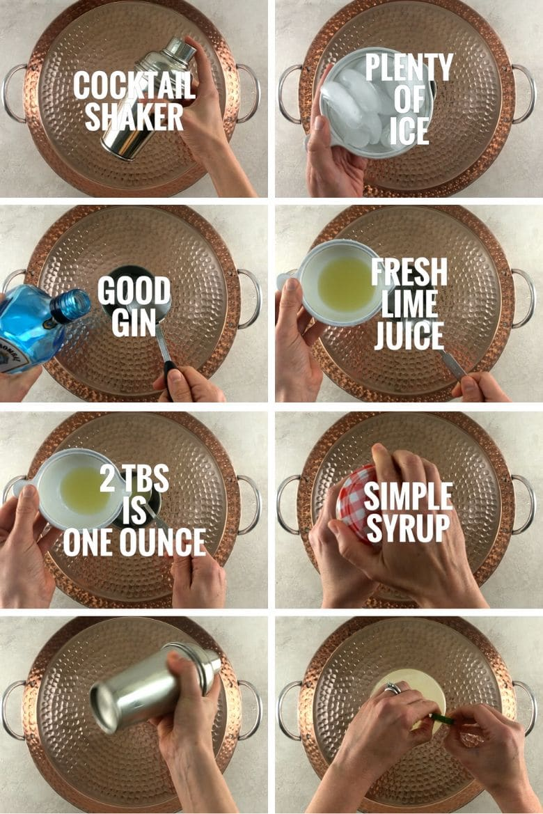collage of eight photos of steps for making a gimlet cocktail