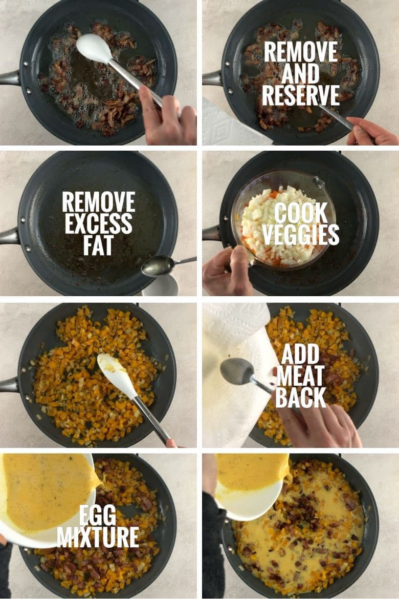 Collage of how to make a frittata