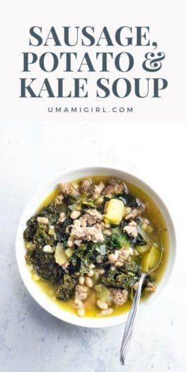 Sausage Potato Kale Soup with Navy Beans Pin _ Umami Girl