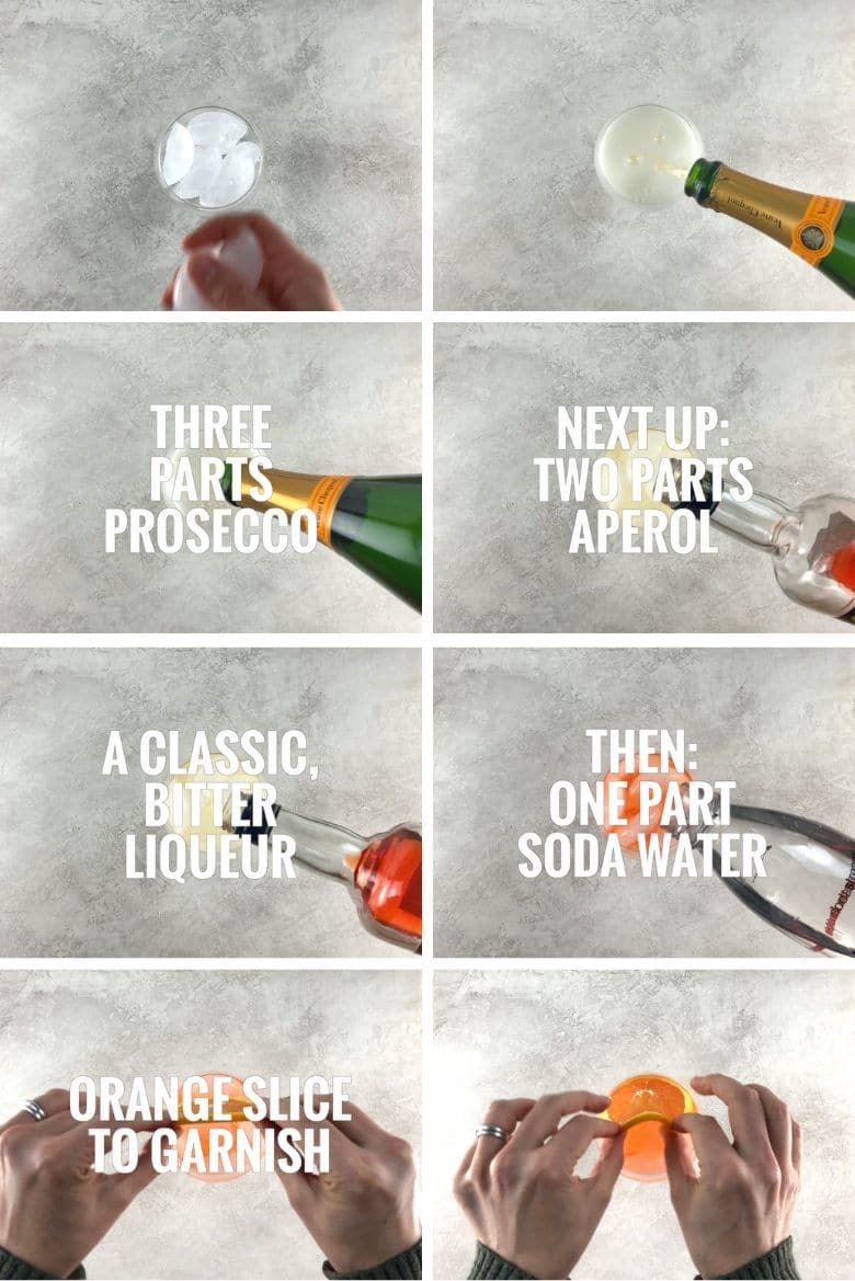 collage of steps to make an Aperol spritz, adding ice, prosecco, aperol, soda water, and an orange slice garnish to a large wine glass on a light background