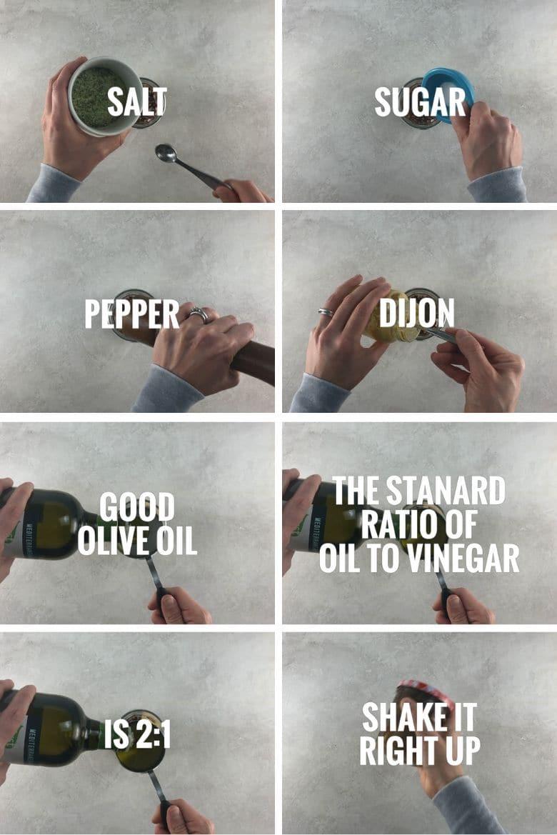 collage of 8 steps to make balsamic vinaigrette salad dressing in a jar