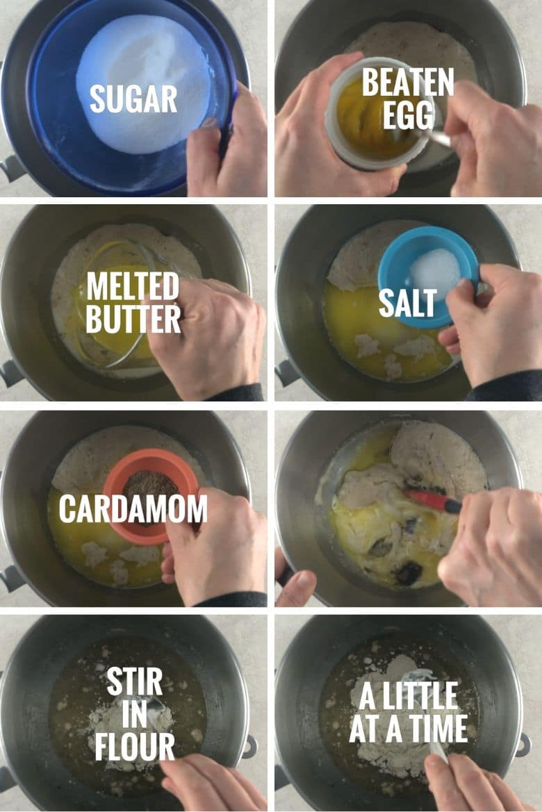 more ingredients being added to stand mixer bowl: egg, butter, salt, cardamom, flour