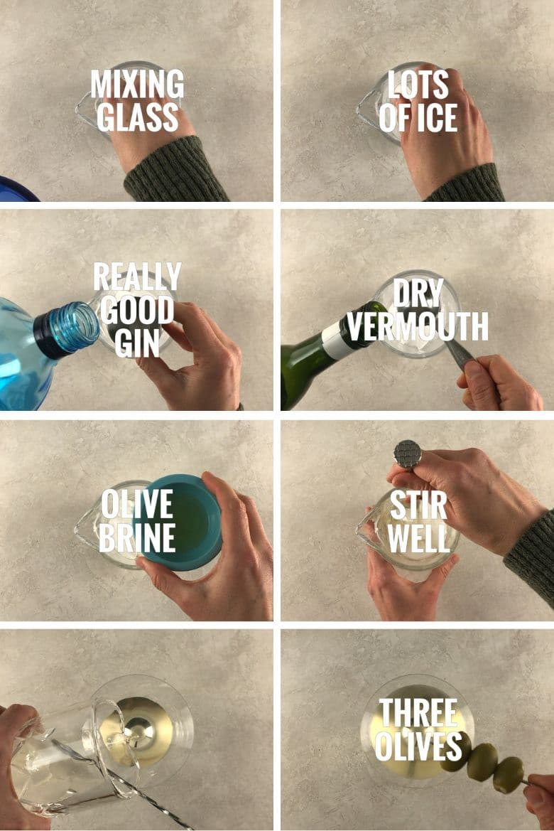 collage of steps to make a dirty martini