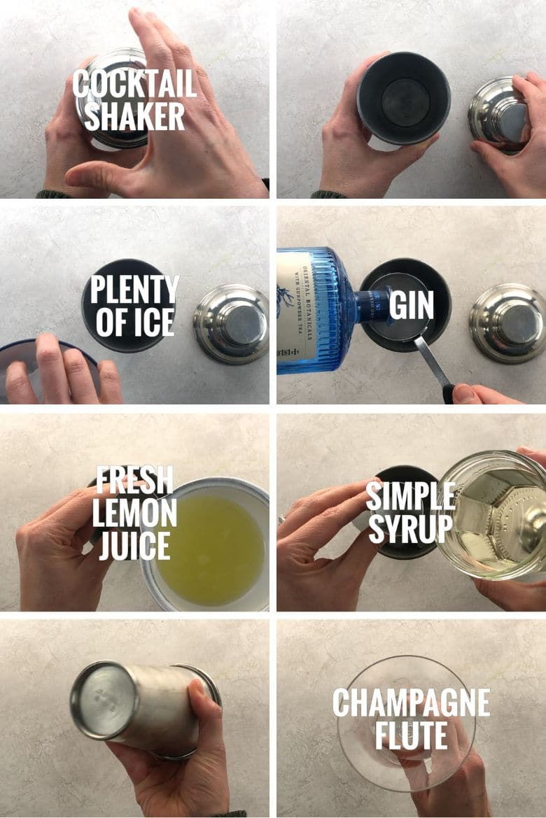 Collage of steps to make a French 75 cocktail