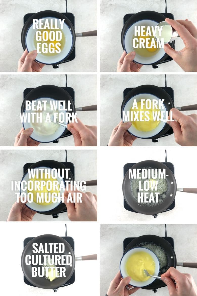 collage of steps to make scrambled eggs 1