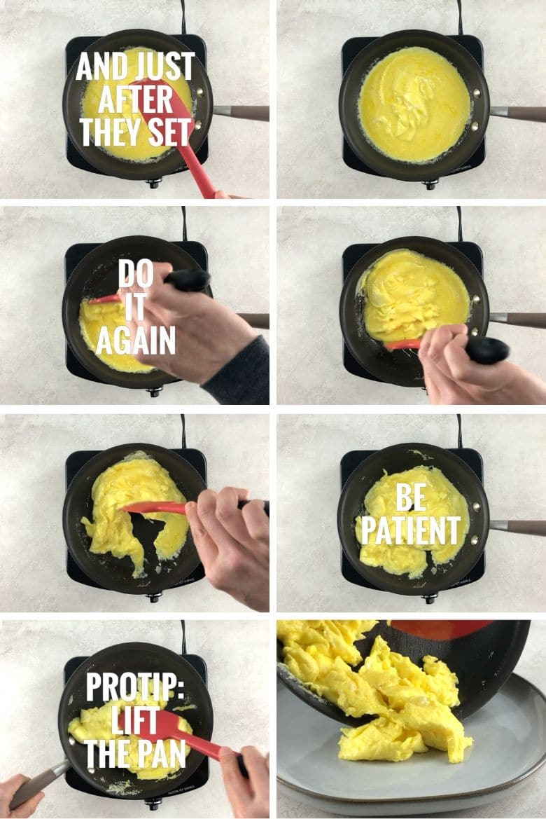 collage of steps to make scrambled eggs 3