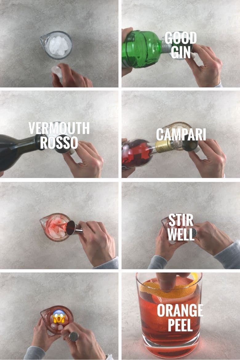 Collage with 8 steps showing how to make a Negroni cocktail