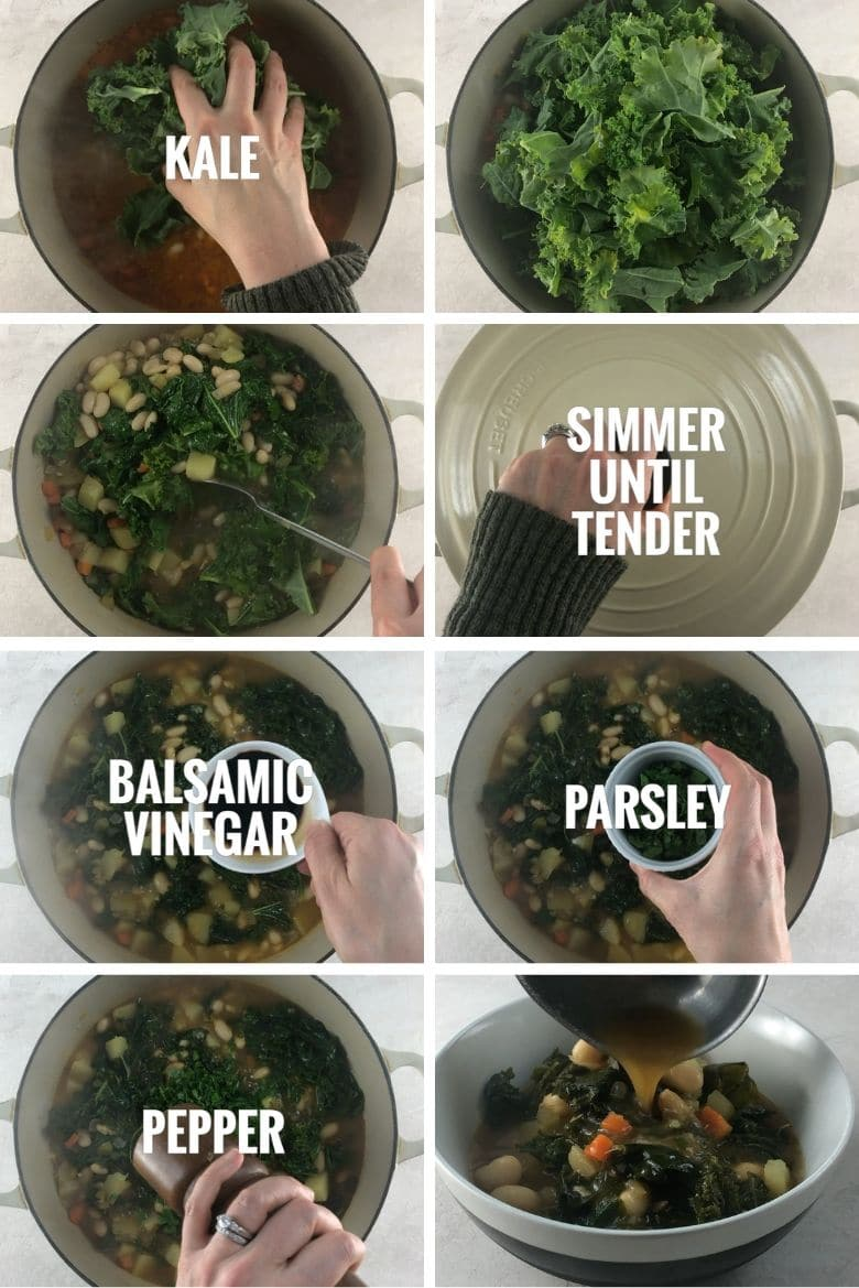 collage of 8 final steps to making kale soup: adding kale to the pot, simmering until tender, adding balsamic vinegar, parsley, and pepper, and ladling into a bowl