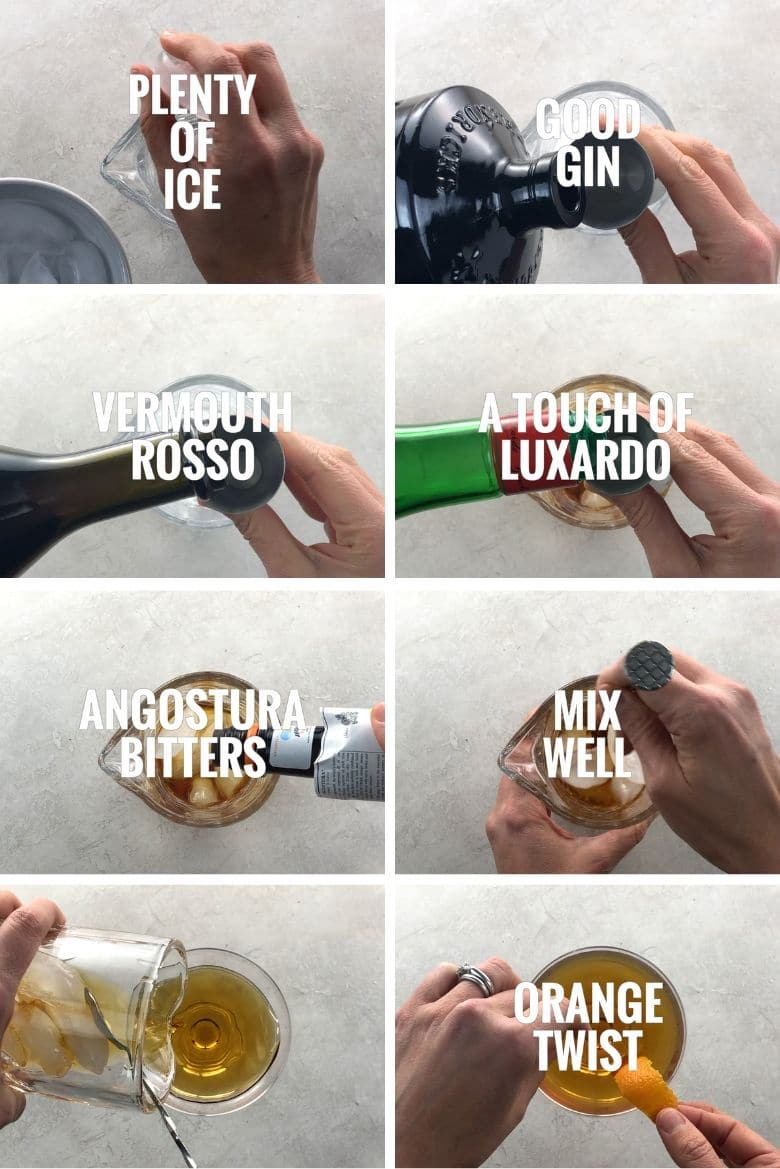 collage of steps to make a martinez cocktail, adding ice, gin, sweet vermouth, luxardo, and angostura bitters to a mixing glass, mixing well, pouring into a coupe glass, garnishing with an orange twist