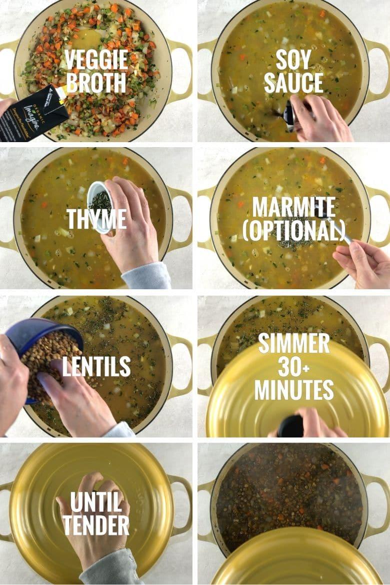 Collage of steps to make lentil stew, part 3