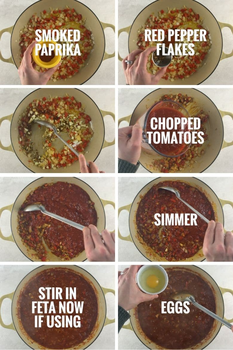 collage of steps to make shakshuka with feta