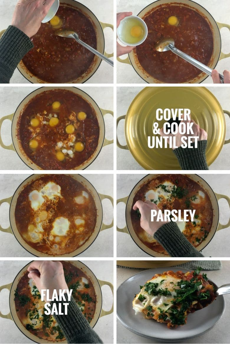 collage of steps to make shakshouka