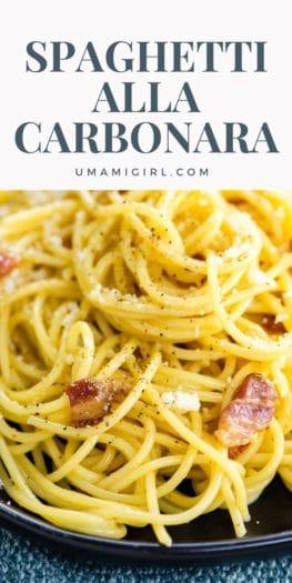 Spaghetti alla Carbonara Recipe Pin _ Umami Girl