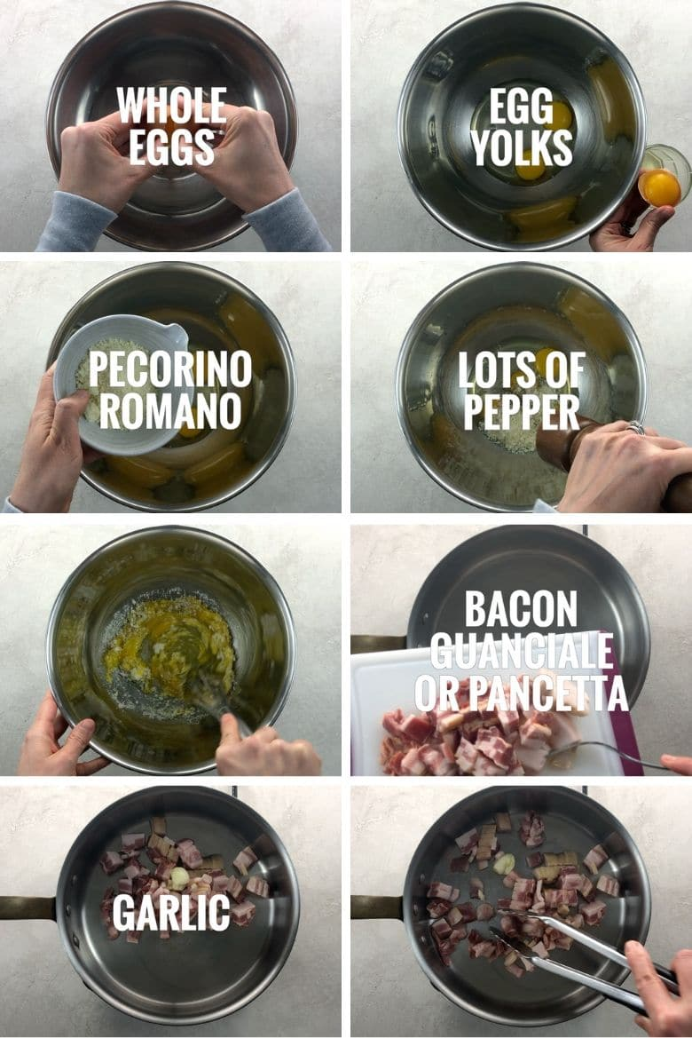 collage of whisking eggs, yolks, pecorino, pepper together in a bowl and cooking bacon and garlic