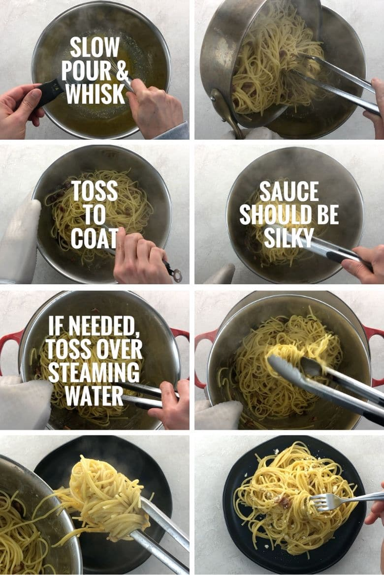 using tongs to coat spaghetti with carbonara sauce and then plating it
