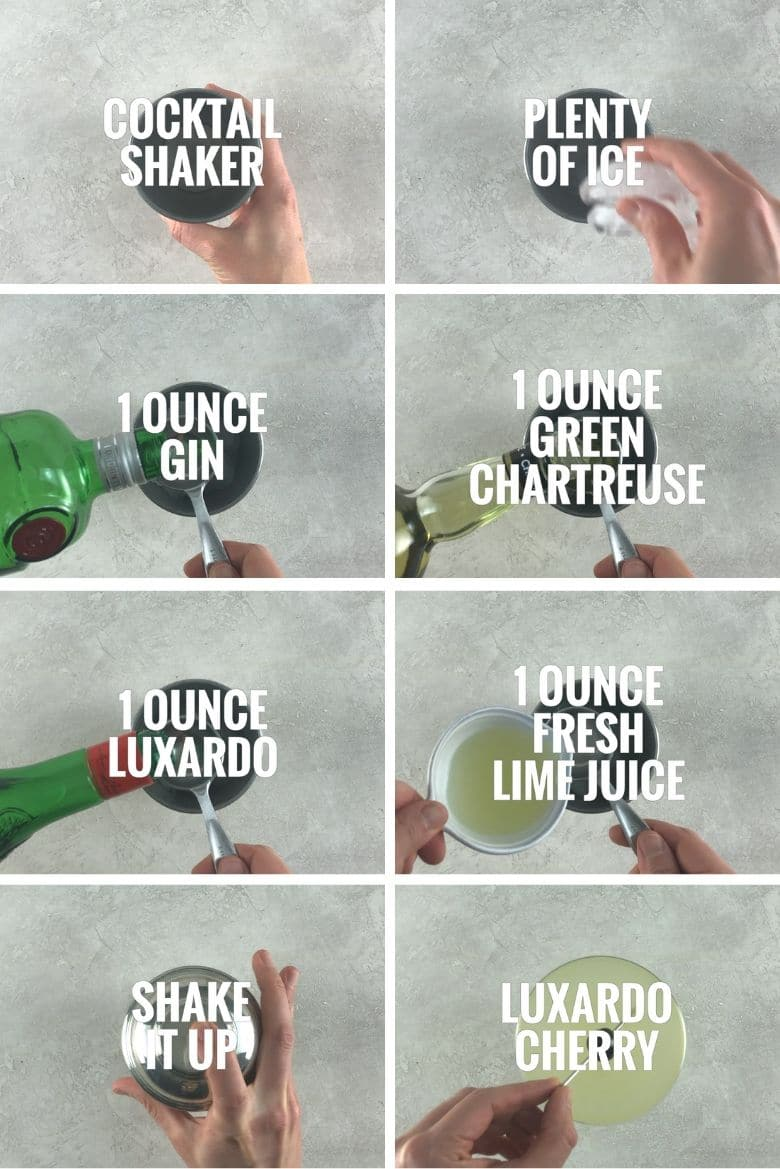 collage of 8 images making a Last Word cocktail: adding ice to a cocktail shaker along with gin, green chartreuse, luxardo, and fresh lime juice. Shaking and adding a luxardo cherry to a cocktail glass.