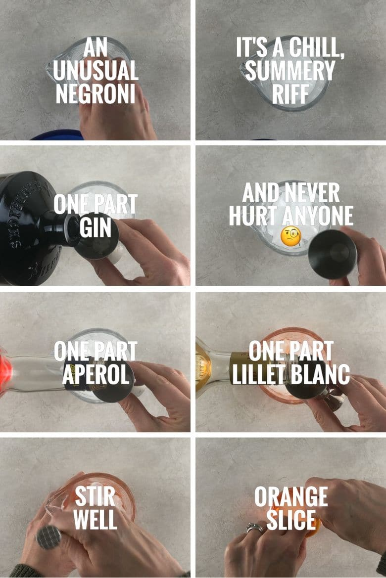 collage of 8 steps to make an unusual negroni cocktail, adding ice, hendricks gin, aperol, and lillet blanc to a mixing glass, stirring, pouring, and garnishing with an orange slice