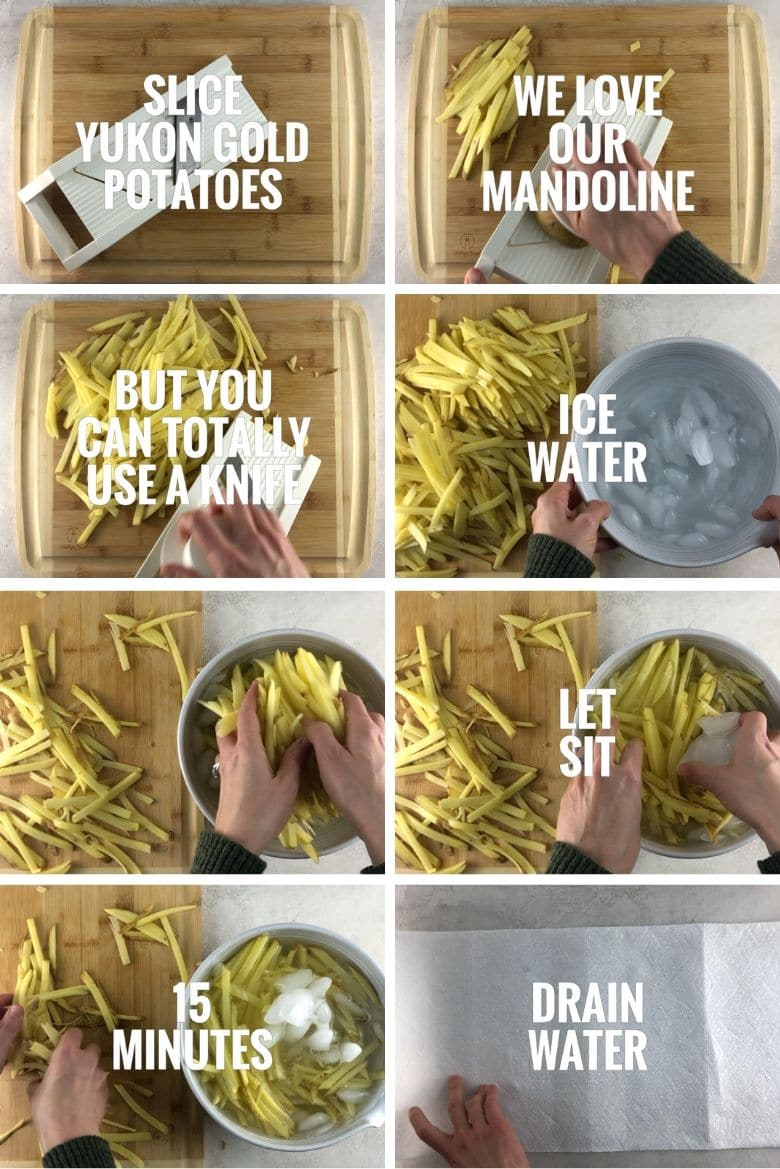 collage of 8 steps for making baked french fries — cutting yukon gold potatoes on a mandoline and placing in ice water