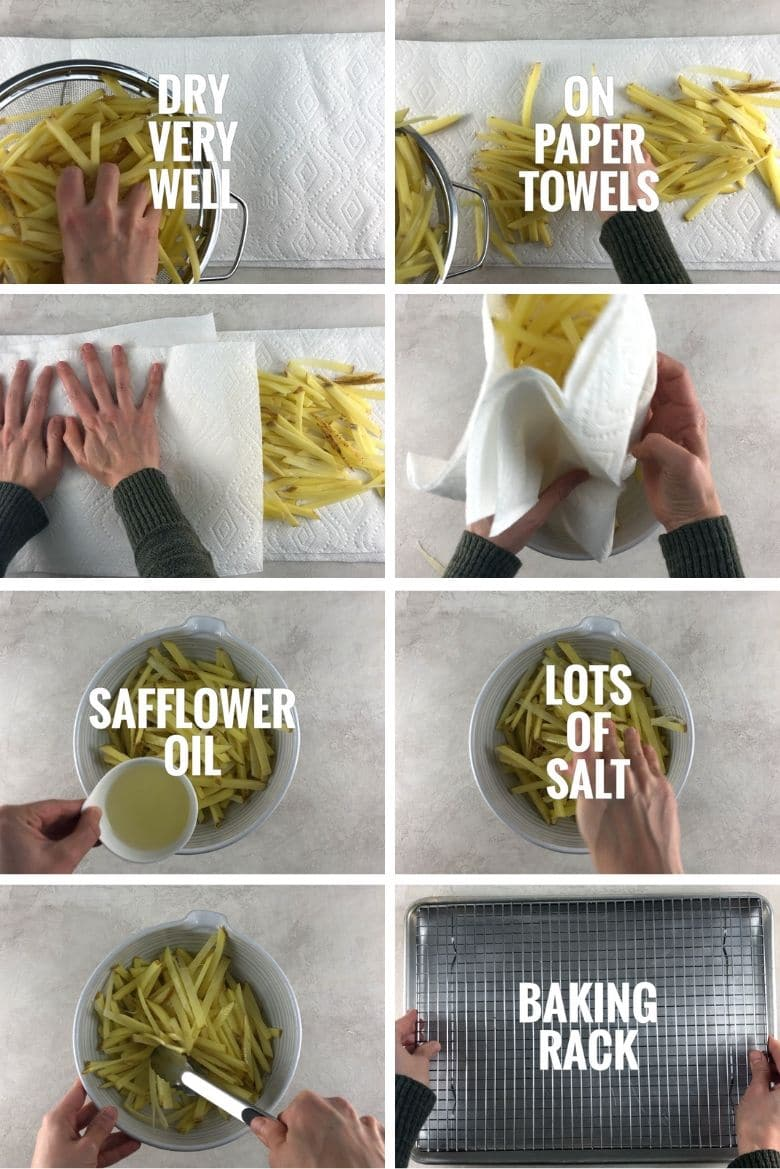 collage of 8 images with steps for baking french fries: drying potatoes with paper towels, mixing potatoes with safflower oil and salt in a bowl