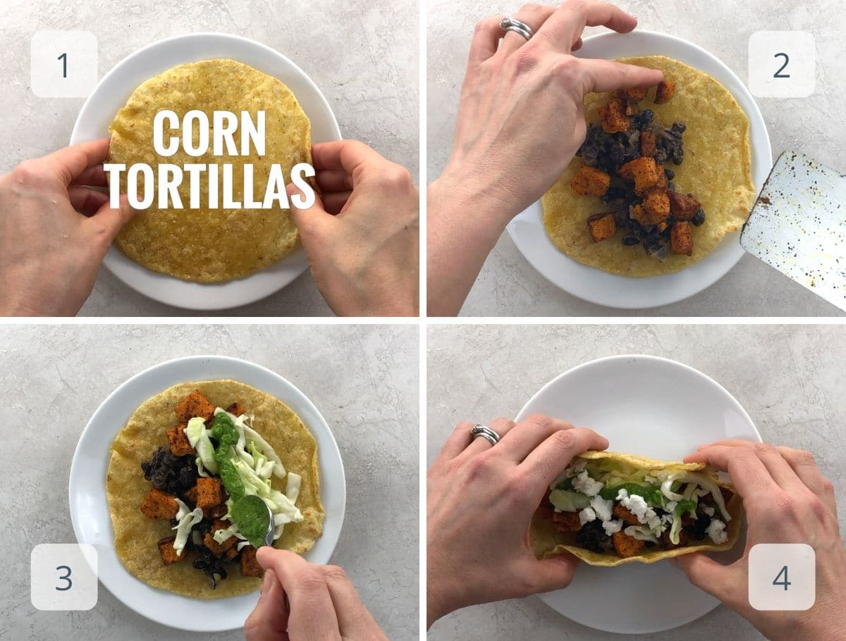 assembling a taco on a white plate with all the components we made
