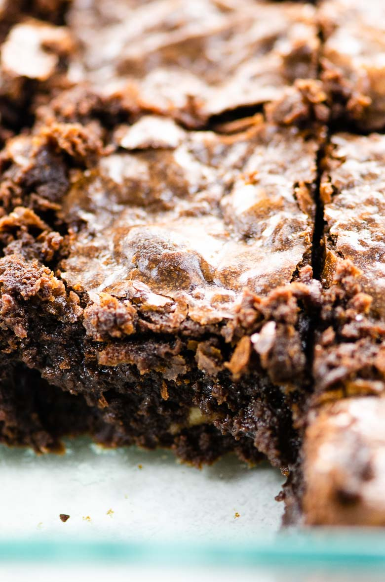 closeup of brownies in a pan