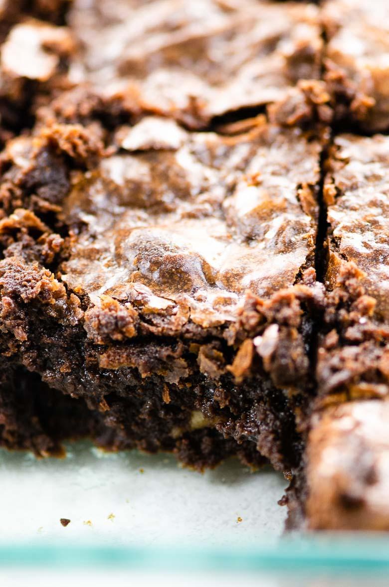 closeup of brownies in a pan