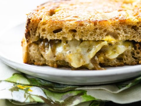 french onion soup grilled cheese on golden, crusty sourdough bread