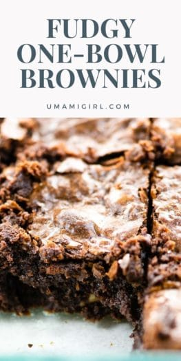 Fudgy One-Bowl Brownies Recipe Pin