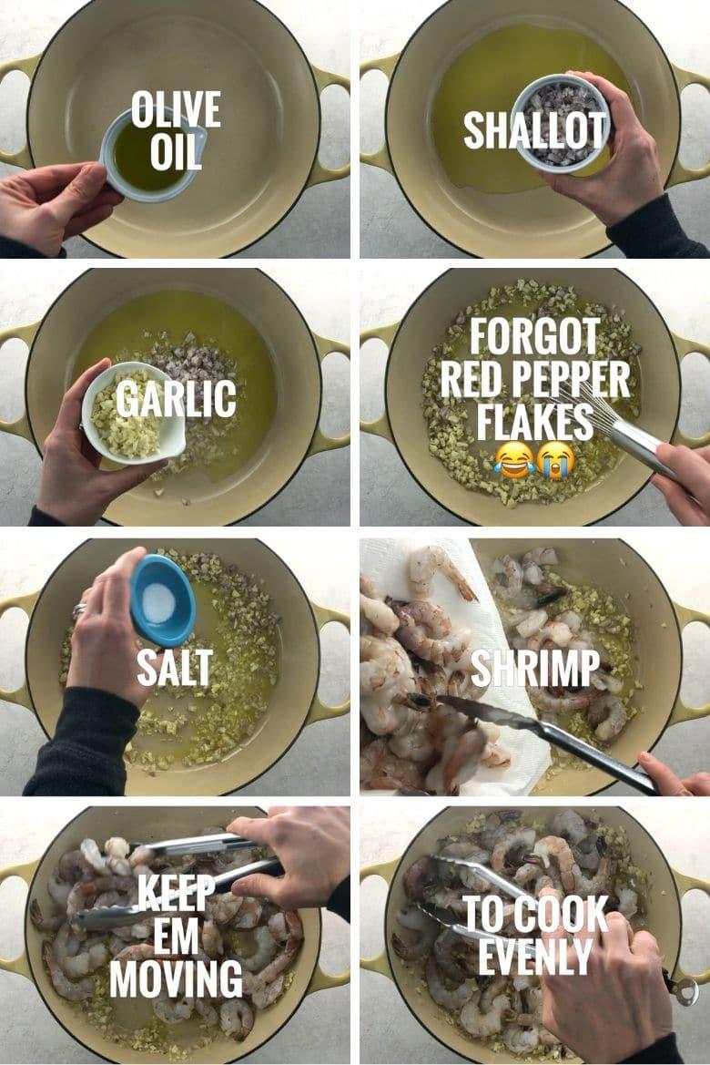sauteeing garlic, shallots, and shrimp