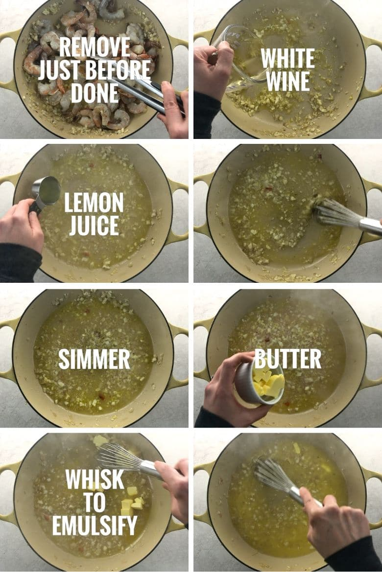 adding white wine, lemon juice, and butter to pan to make a sauce