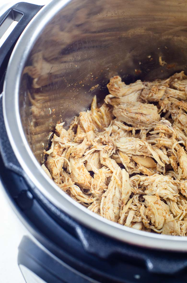shredded chicken inside an instant pot