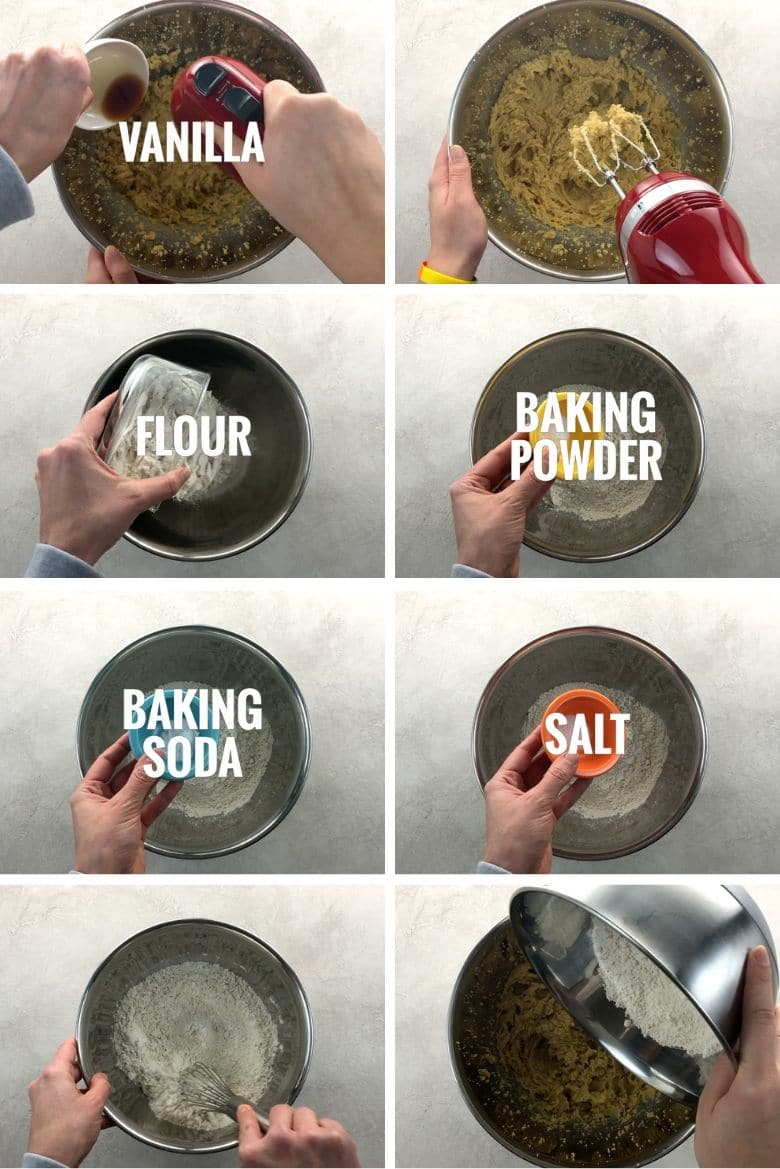 adding vanilla, flour, baking powder, baking soda, and salt to a mixing bowl