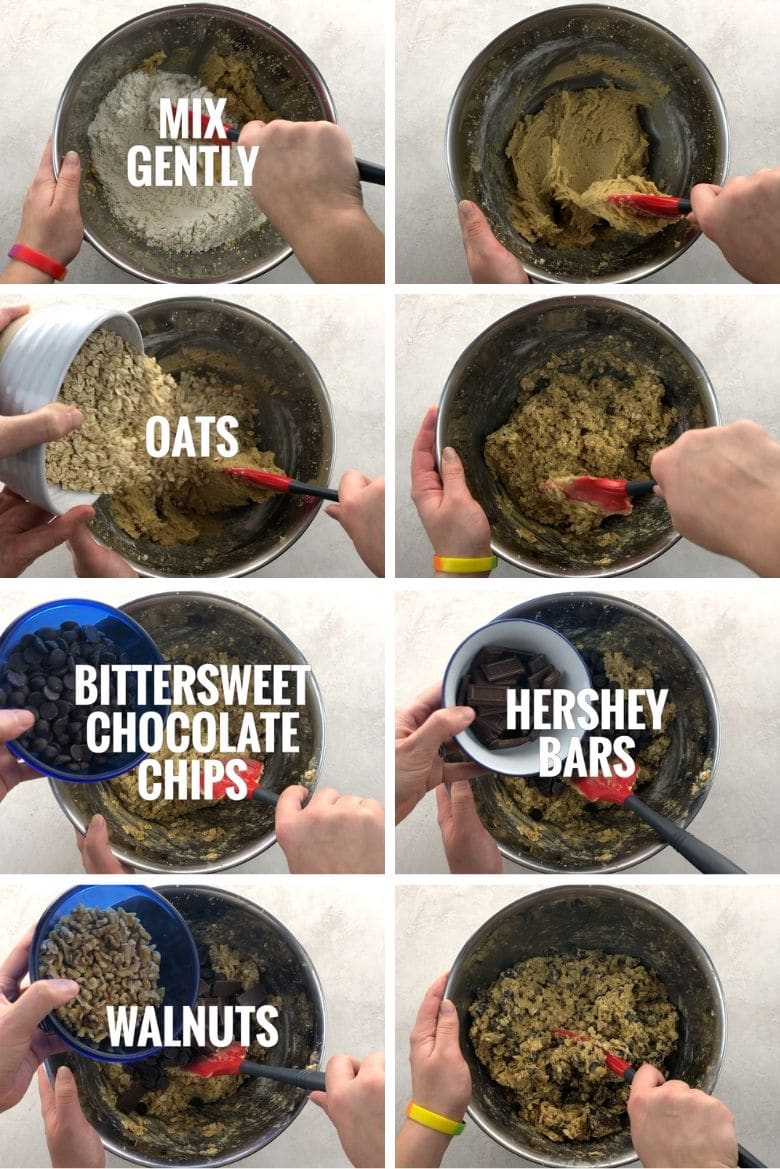 adding oats, chocolate chips, hershey bars, and walnuts to a mixing bowl