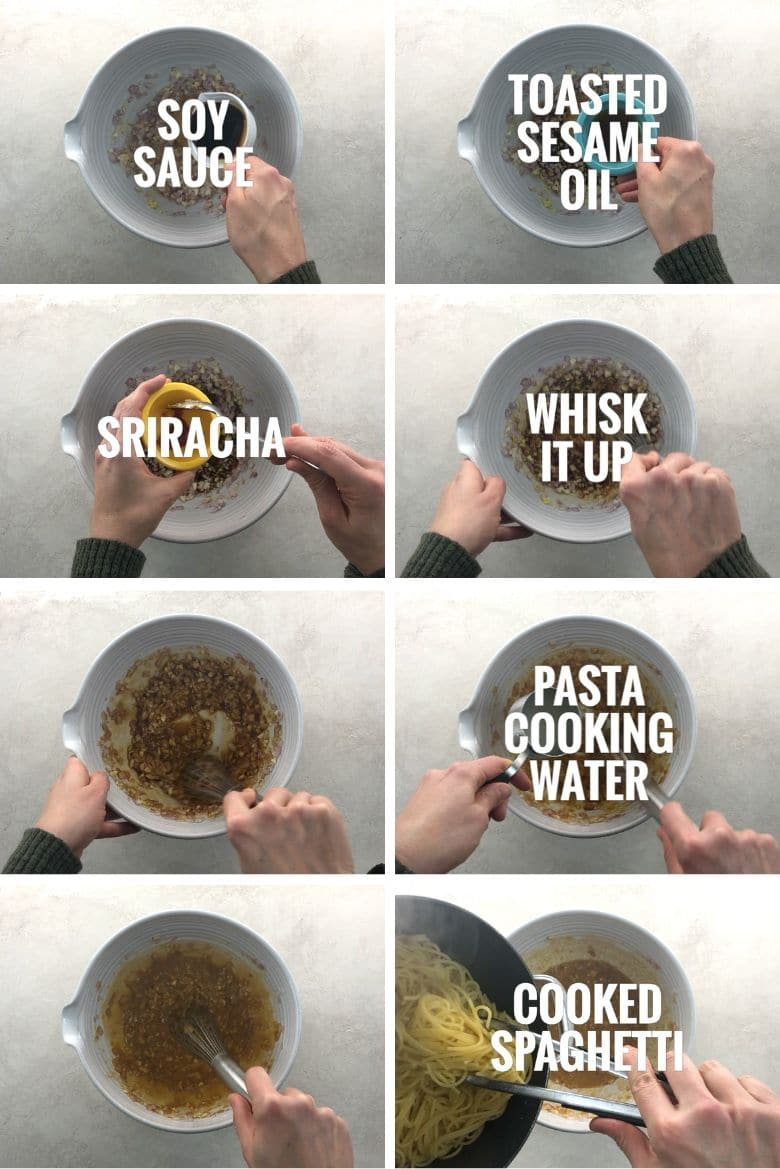 adding soy sauce, toasted sesame oil, sriracha, pasta cooking water, and spaghetti to the bowl