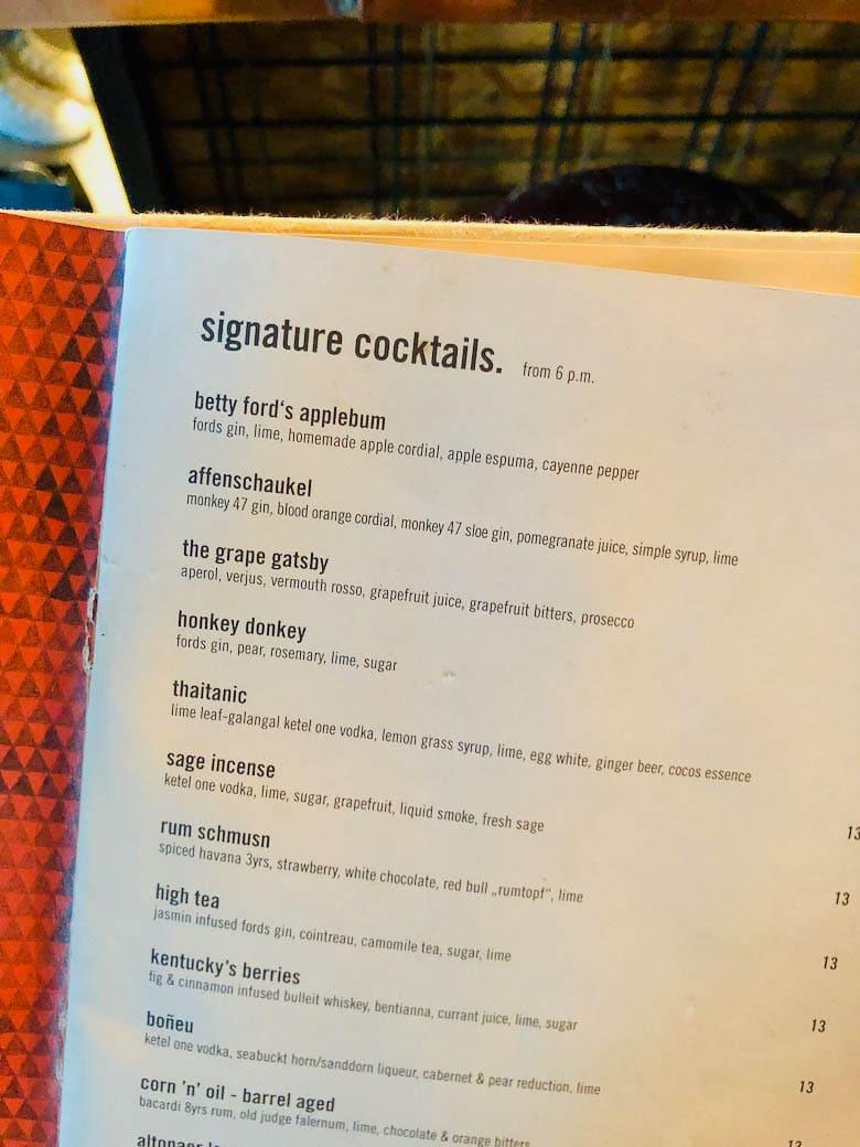 cocktail menu from 25h hotel vienna austria