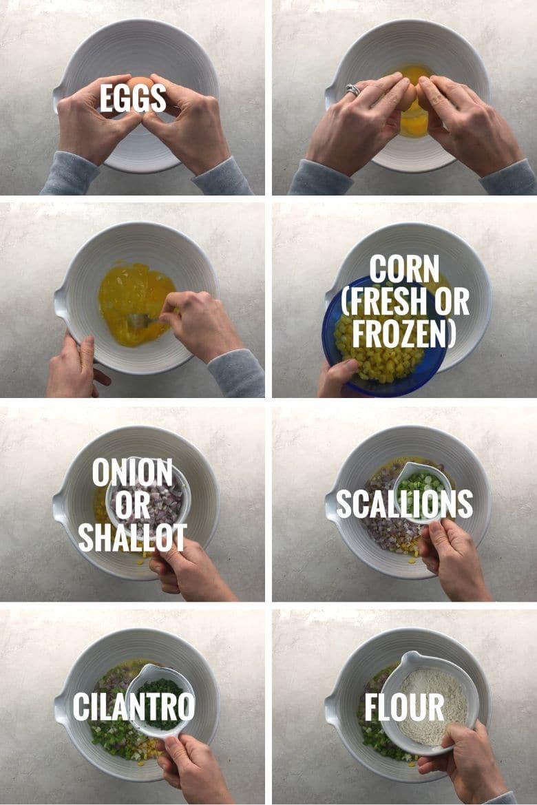 adding eggs, corn, shallots, scallions, cilantro, and flour to a bowl