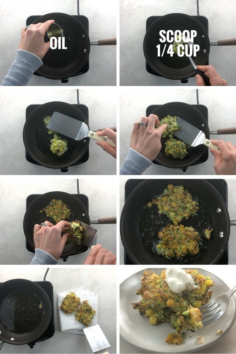 frying zucchini corn fritters in a small pan