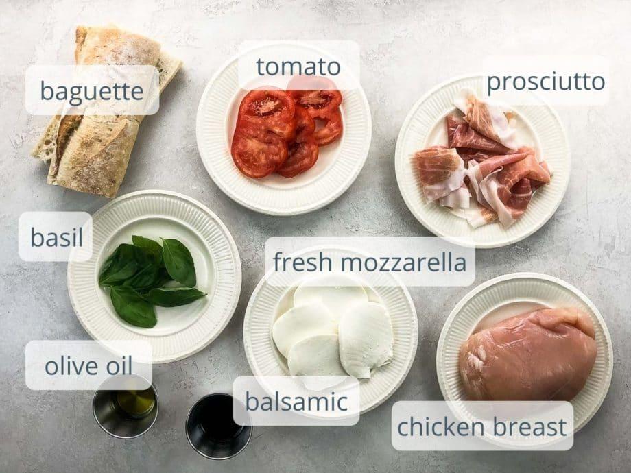 baguette, tomato, prosciutto, basil, mozzarella, olive oil, balsamic, chicken breast