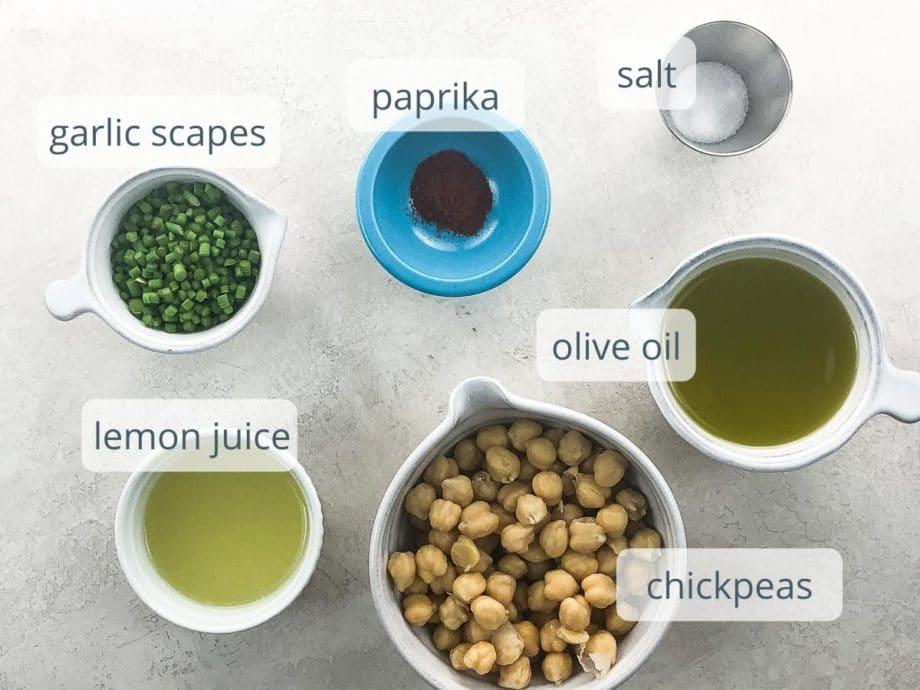 garlic scapes, paprika, salt, lemon juice, olive oil, chickpeas